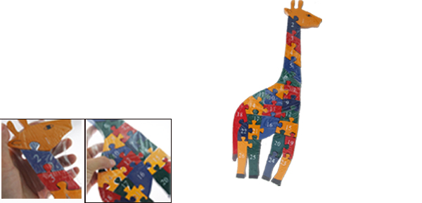 Funny Painted Number Giraffe Animal Wooden Puzzle Toy