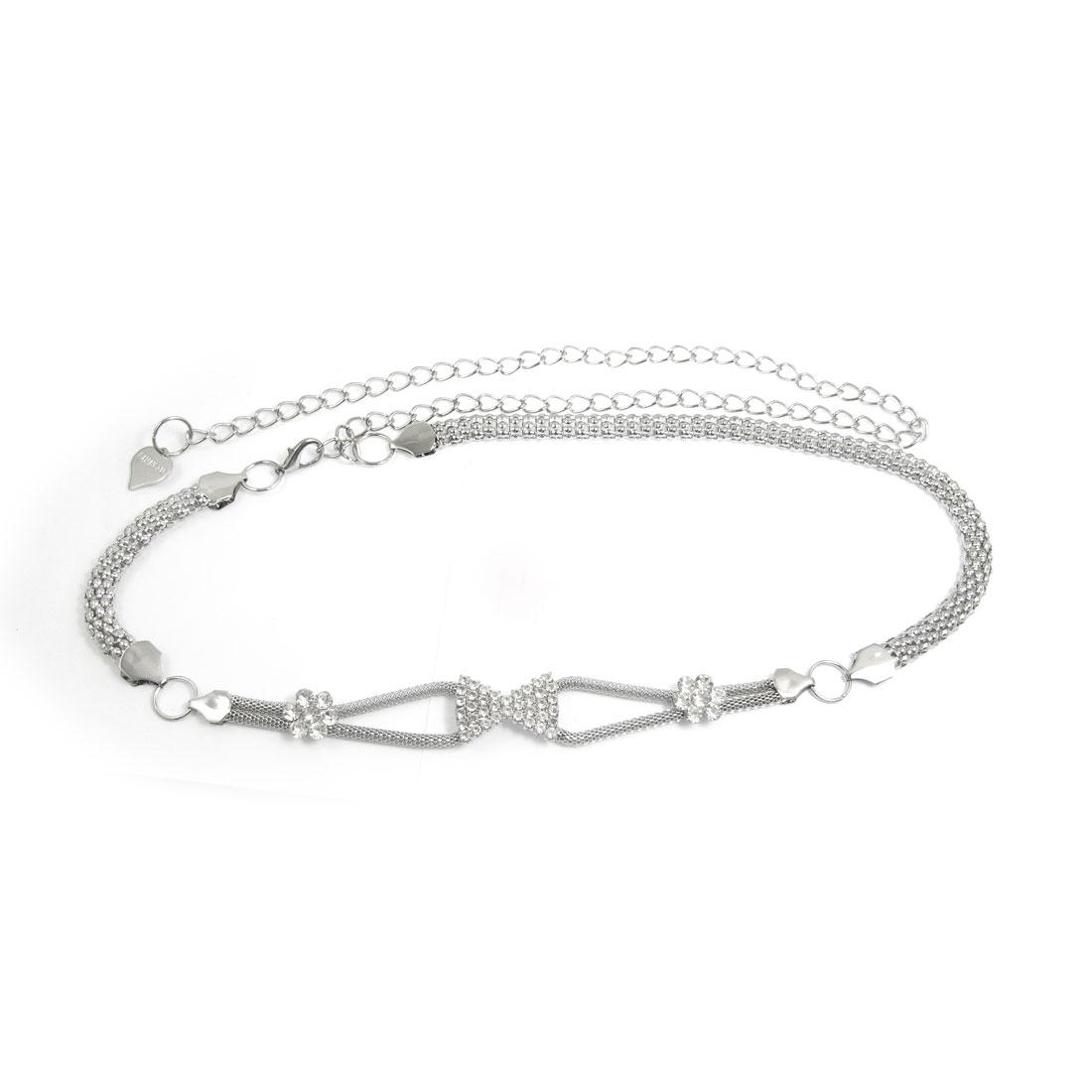 Lady-Clear-Faux-Rhinestone-Decor-Gold-Tone-Metal-Bowknot-Pattern-Belt-Chain