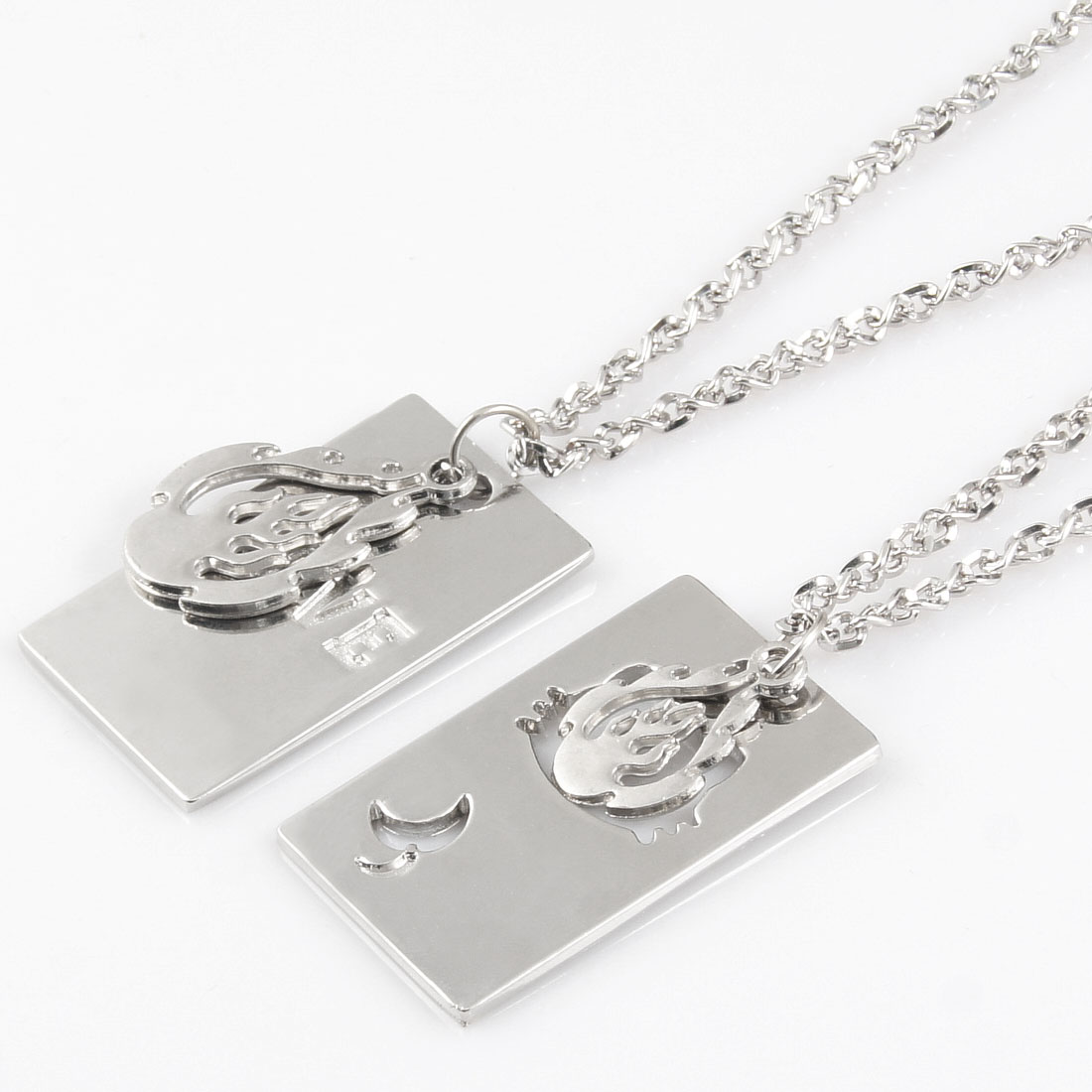 Pair Silver Tone Dog Tag Flame Cat Head Pendant Chocker Necklace Lover Gift