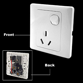 AC 250V 16A 3 Pin AU Outlet Socket 1 Gang Button Wall Plate Switch White
