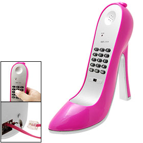 Amaranth Pink Super High-Heel Shoe Shape Corded Phone