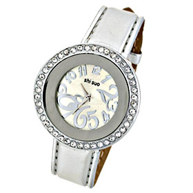 Fashion Silvery Leather Strap Rhinestone Round Ladies' Watch