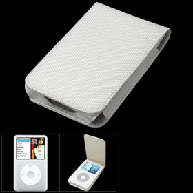 White Fabric Leather Case Cover for iPod Classic 80GB 120GB