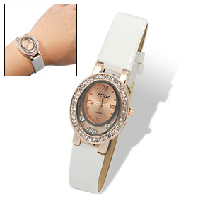 White Faux Leather Strap Women's Rhinestones Quartz Watch