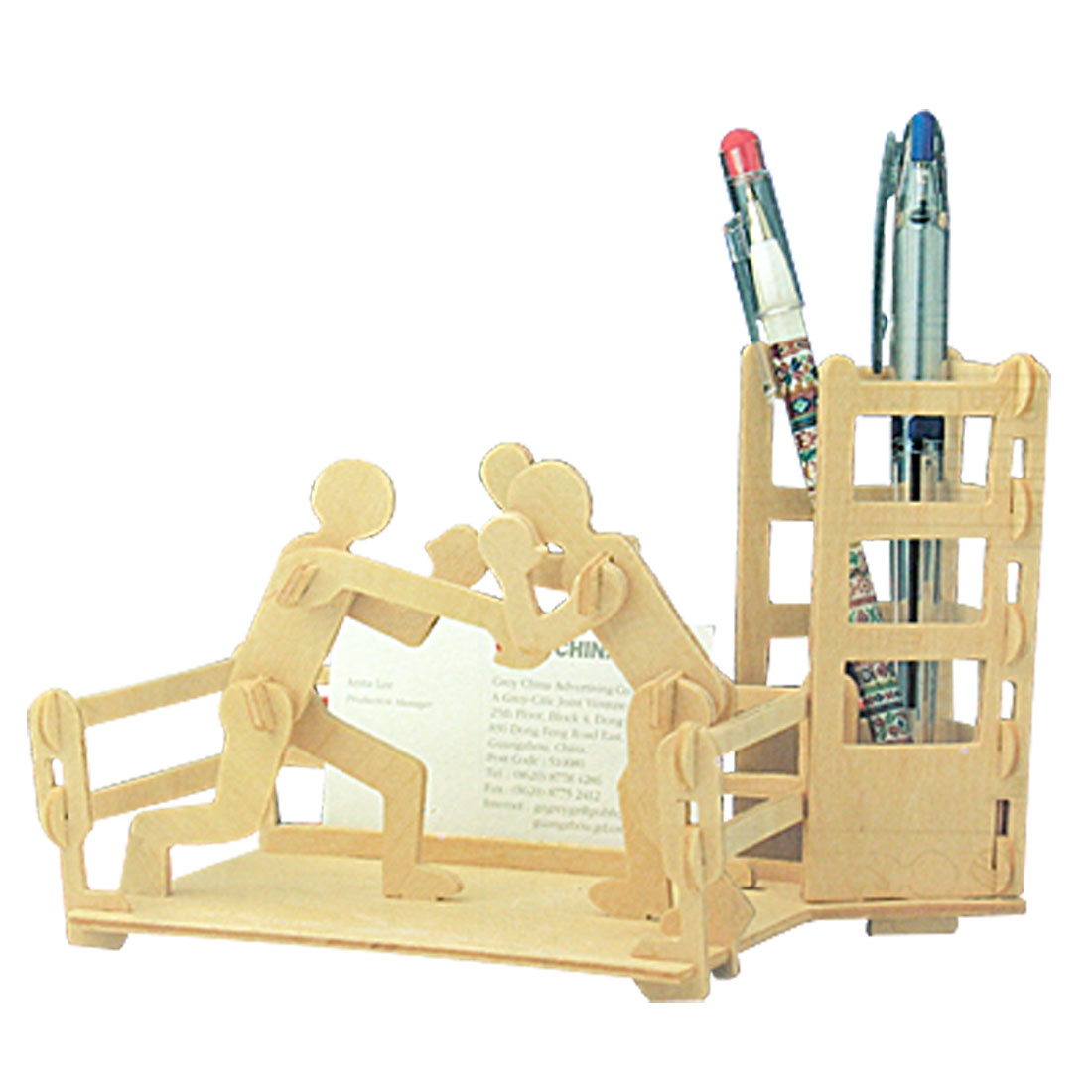 DIY-Toys-Boxing-Pen-Holder-Woodcraft-Construction-Kit