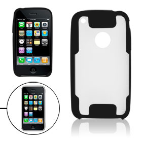Clear Hard Plastic Back Case for iPhone 3G W Black Frame