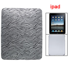 Black Stripe Glittery Silver Tone Hard Plastic Case for Apple iPad 1