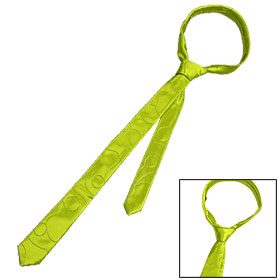 Yellow Green Mens Leisure Neck Tie Stitch Polyester Skinny Necktie