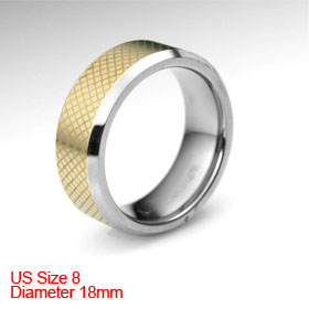 US 8 Gold Tone Argyle Style Tungsten Carbide Finger Ring