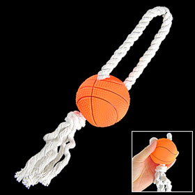 Dog Orange Squeaky Basketball Wht Braided Rope Chew Toy