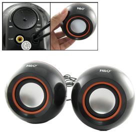 3.5mm Plug USB 2.0 Black Mini Round Mp3 Mp4 Computer Speaker Box