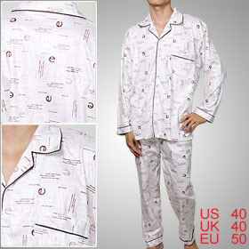 Man Winter Letter L Pajamas Top Pants Nightclothes
