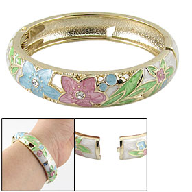 Lady Cloisonne Rhinestone Decor Flower Hinged Bangle Bracelet
