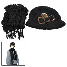 Black Cut Out Knitted Scarf + Bowtie Detail Beanie Hat for Lady