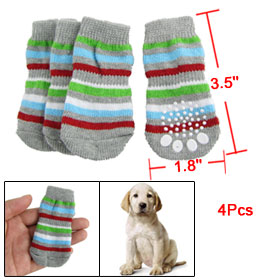 Antislip Bottom Multicolor Bar Stripe Elastic Socks for Dog