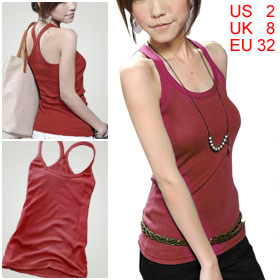 Summer Round Neck Sleeveless Y Back Strap Tank Top Red for Lady XS