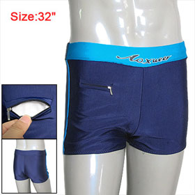 Men Wide Elastic Waist Stretchy Boxer Swimming Trunks Blue W32