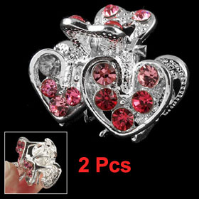 2 Pcs Ladies Double Heart Shape Red Rhinestone Decor Headdress Clamp