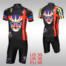 Opera Mask Pattern Crew Neck Shirt Padded Shorts Cycling Suit for Man M