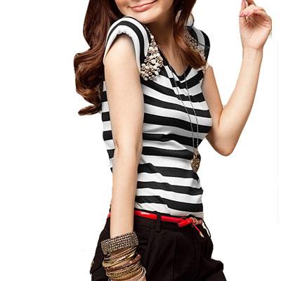 Meshy Semi-sheer Back Bar Stripes Shirt Top for Lady
