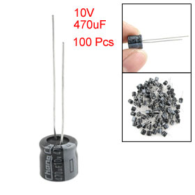 100 Pcs 8 x 7mm 10V 470uF Polarized Aluminum Electrolytic Capacitors
