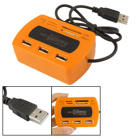 LED Indicator Orange 3 Ports USB 2.0 Hub Micro SD MMC M2 Card Reader Combo