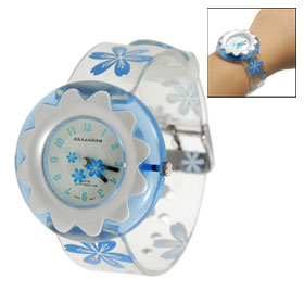 Child Blue Arabic Number Soft Plastic Strap Round Dial Sports Watch
