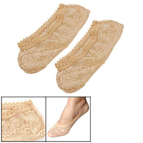 Woman Pair Beige Floral Print Stretch Lace Invisible Boat Socks