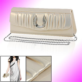 Women Rhinestone Gold Tone Faux Leather Evening Shoulder Bag w Chain