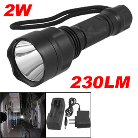 Ultra Bright 230LM 2W LED 5 Modes Flashlight Torch w 18650 Charger Black