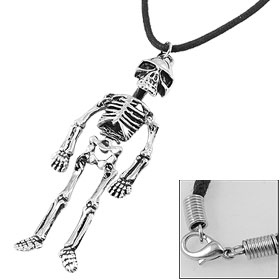 Man Black Strap Silver Tone Alloy Skeleton Shape Pendant Necklace