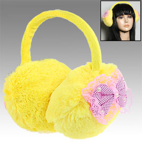 Lady Girls Light Pink Bowknot Decor Yellow Soft Warm Earmuffs