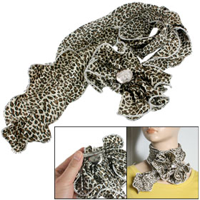 Lady Flower Knot Leopard Print Head Neck Thin Scarf Light Beige