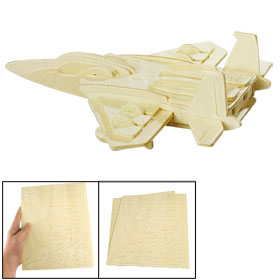Children Puzzled Wooden F-15 Fighter Plane Model 3D Puzzle DIY Toy
