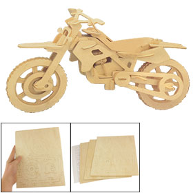 Child 3D Wooden Puzzle Cross Country Motorcycle Model Construction Kit Gift