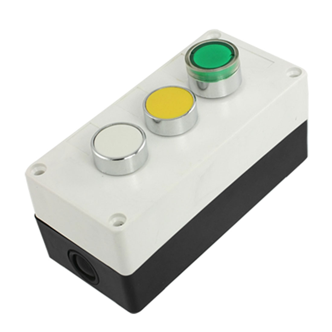Yellow-White-Green-Round-Cap-Momentary-Switch-Push-Button-Control-Box-AC-240V-3A