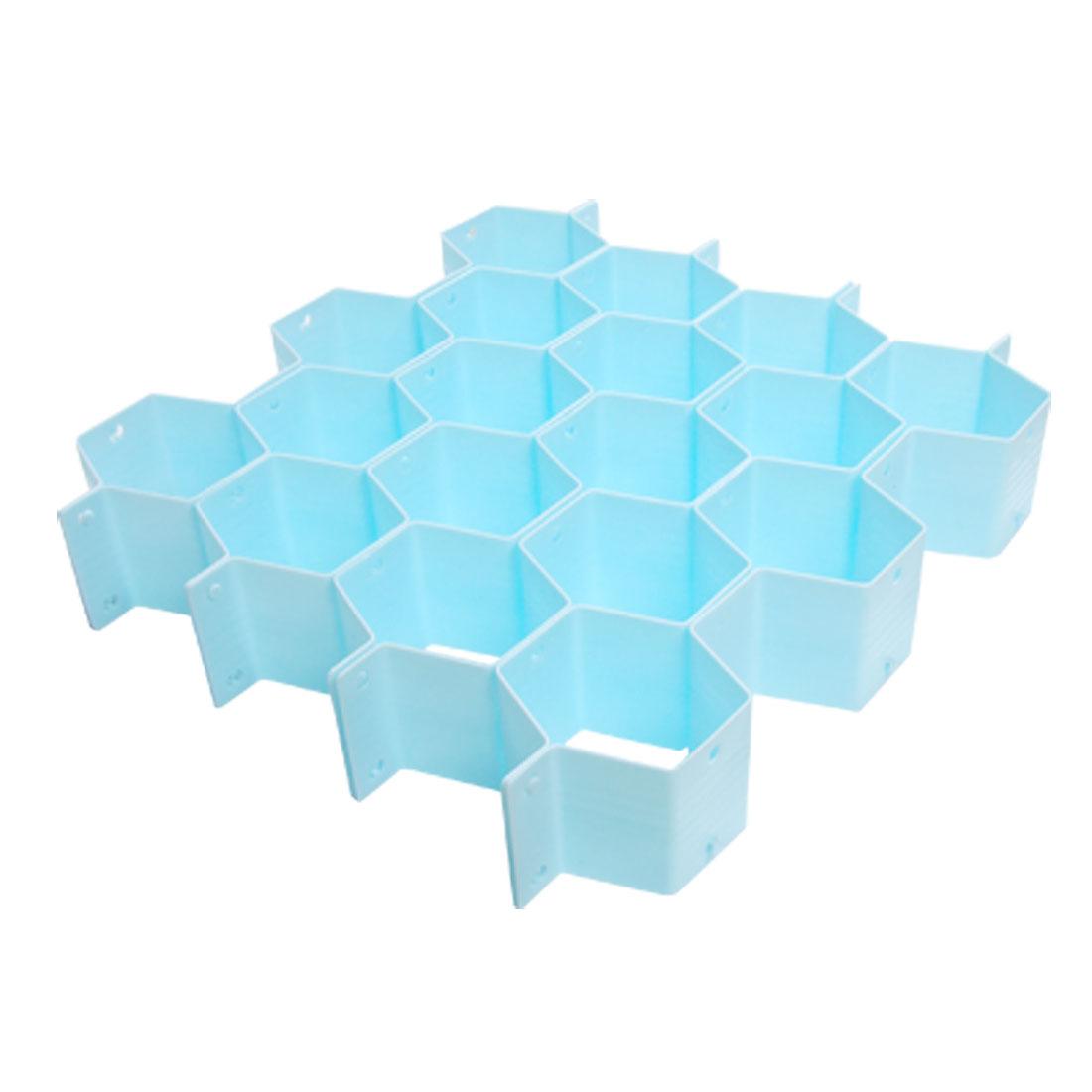 Unique Bargains Interlock Honeycomb Partition Scarves Socks Drawer Cabinet Clapboard Blue