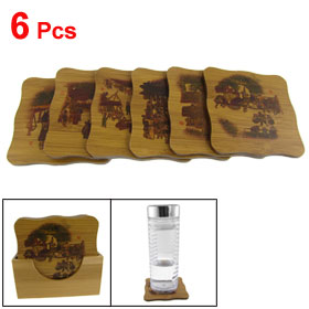 6 Pcs Chinese Ancient Market Pattern Square Cup Mats Bamboo Coasters w Holder Set