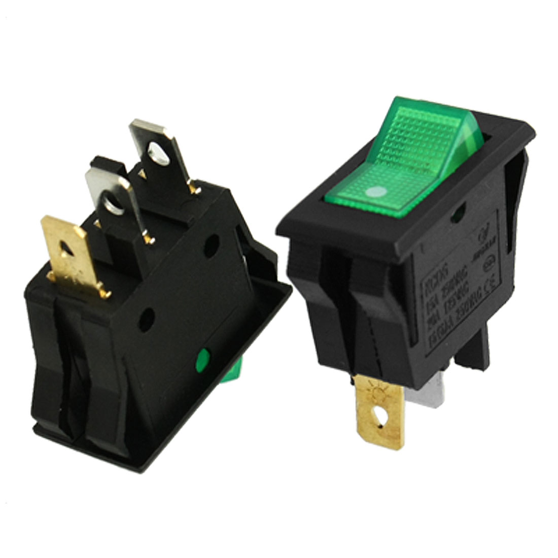 Unique Bargains AC 15A/250V 20A/125V Green Light ON-OFF 2 Position SPST Boat Rocker Switch 10pcs