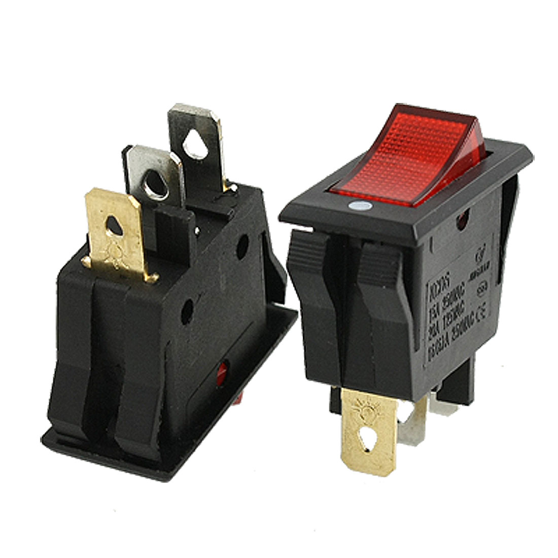 Unique Bargains 10 pcs AC 15A/250V 20A/125V Red Light 3Pin SPST ON/OFF Panel Mount Rocker Switch
