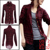 Red Checked Point Collar Button Down Long Sleeve Shirt XS for Women
