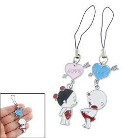 Heart Figure Pendant Metal Couple Mobile Cell Phone Strap
