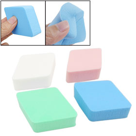4 Pcs Blue Green Pink White Sponge Facial Powder Puffs for Lady