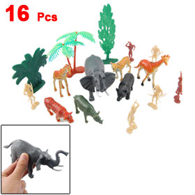 Plastic Tree Lion Tiger Leopard Bear Wolf Assort Animals Decor 16 Pcs