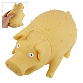 Beige Rubber Shrilling Pig Screaming Squeeze Toy for Prank Joke