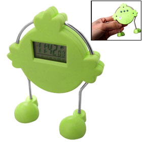 Plastic Robot Shaped Desk LED Screen Display Alarm Clock Stop Watch Green