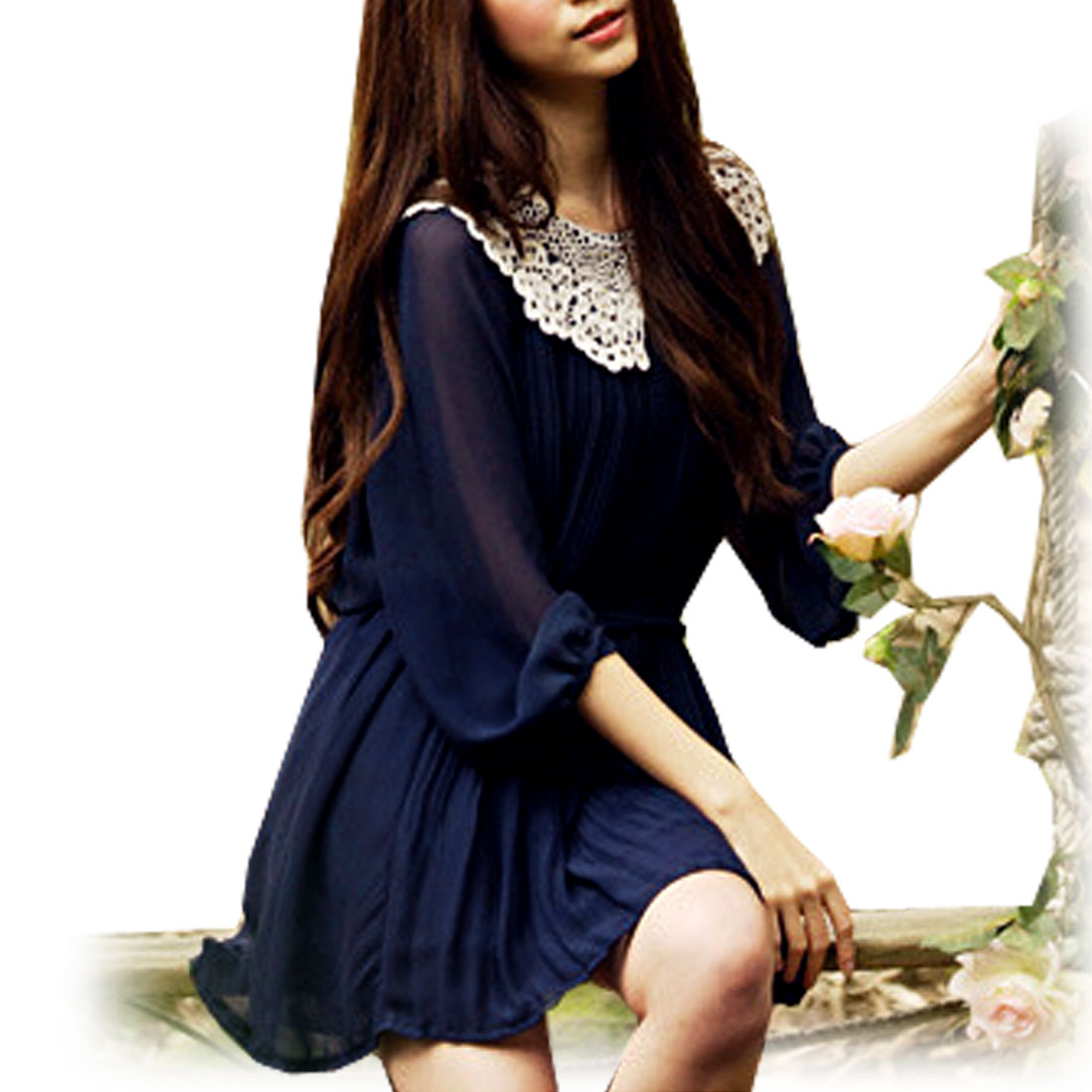 Woman Guipure Peter Pan Collar Elastic Cuff Ruched Blouse