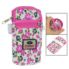 Phone Coins Holder Pink Floral Prints 2 Pockets Design Zippered Wristband Pouch