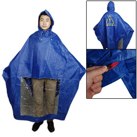 Man Woman Water Resistant Motorcycle Rain Poncho Cape Raincoat Blue