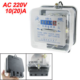 AC 220V 10A 20A Single Phase Kilowatt Hour kWh Energy Meter 50Hz
